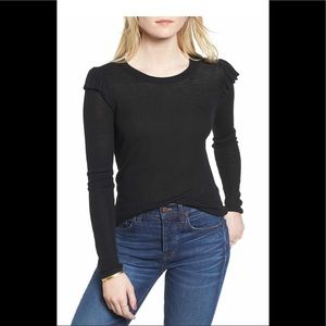 Madewell Ruffle-Sleeve Pullover Knit Top Black M